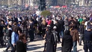 A large group of people gathered on the grounds of the legislature, to protest Canada's marijuana laws.