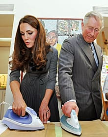 Kate and Prince Charles iron artwork they had just made onto silk during a visit to the Dulwich Picture Gallery in south London, on March 15, 2012.