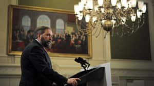 NDP Leader Tom Mulcair encouraged his caucus in a speech Wednesday to carry on the work of former leader Jack Layton, who died last August.