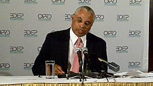Gerry McNeilly, head of the Office of the Independent Police Review Director, speaks to reporters about G20 protests in June 2010.