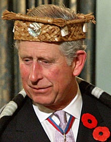 Prince Charles wears a traditional Coast Salish First Nation cedar headband he received from British Columbia Lt-Gov. Steve Point on Nov. 7, 2009.