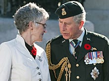 Prince Charles talks with 2009 Silver Cross Mother Della Morley, mother of Cpl. Keith Morley, who was killed in Afghanistan in 2006, during Remembrance Day services at the National War Memorial in Ottawa on Nov. 11, 2009.