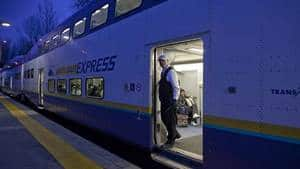The West Coast Express provides weekday service between Mission and Vancouver along a 65-kilometre route.