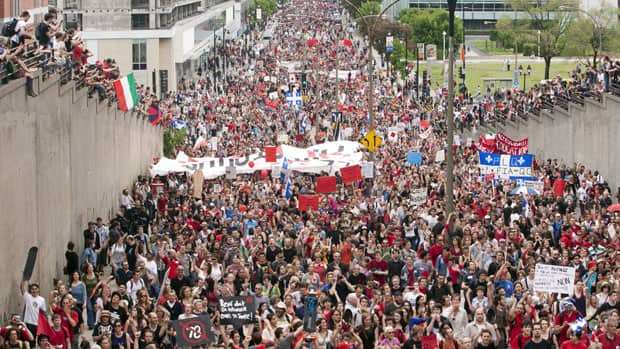 Thousands of protesters march through the streets of Montreal in a massive protest against tuition fee hikes on Tuesday.
