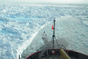 The ICESCAPE research vessel cuts a path through the ice of the Chukchi Sea.
