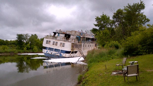 The MS Lord Selkirk II following Tuesday afternoon's fire. RCMP say they are treating the blaze as suspicious.