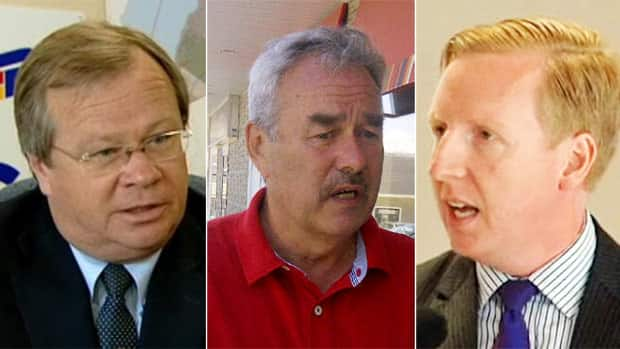 PC candidate Hugh John (Ted) Flemming III, left, Liberal candidate John Wilcox, centre, and NDP candidate Dominic Cardy are the main contenders in Monday's Rothesay byelection.