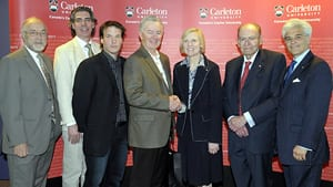 The Riddell donation is announced in June, 2010. From left, John ApSimon, interim dean of Public Affairs, Chris Dornan,  director of Kroeger College, Prof. Andre Turcotte, Preston Manning, Carleton President Roseann O'Reilly Runte, Chancellor Herb Gray and Board of Governors chair Jacques Shore.