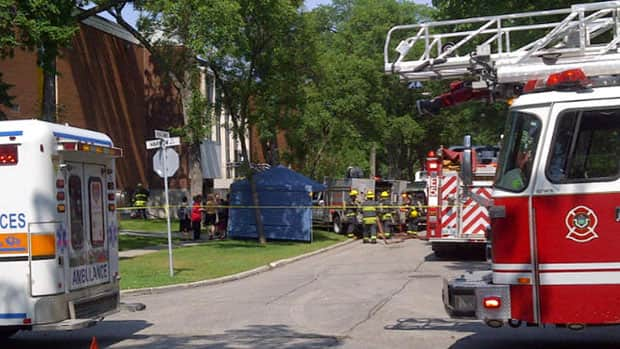 Winnipeg fire vehicles outside Kelvin High School on Wednesday afternoon.