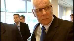 Former MLA Richard Hurlburt leaving court Thursday.