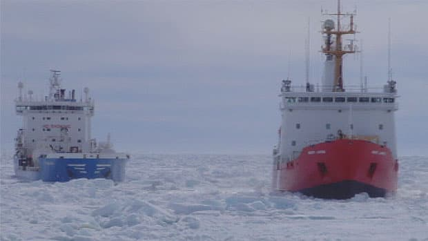 Two resupply ships are stuck in Frobisher Bay by Iqaluit. Coast Guard icebreakers have been struggling to cut a path for the ships, but ice is so thick that it's closing around the icebreakers before the ships are able to pass through.