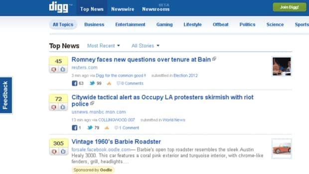 A screen grab of Digg's home page on July 13. The site aggregates news stories from other sources according to recommendations submitted by users.