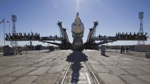 The Soyuz TMA-05M spacecraft is readied to be lifted on its launch pad at the Baikonur Cosmodrome on July 12, ahead of its planned launch on July 15 (July 14 in North America). A three-person crew of U.S., Japanese and Russian astronauts will travel on the rocket to the International Space Station.