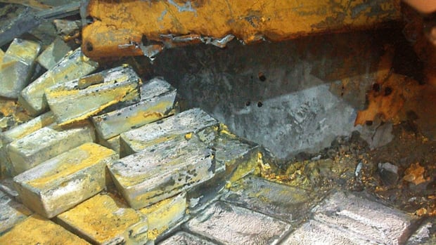Some of the silver bars found on the SS Gairsoppa. Forty-eight tons of silver bullion have been recovered from the shipwreck so far.