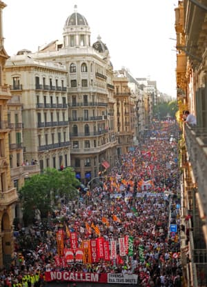 Demonstrators filled the streets of Barcelona, Spain, Thursday, to protest new austerity measures. The country is in its second recession in three years.