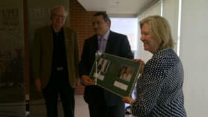 Margaret McCain, right, gifts $3 million to UPEI for human development research.