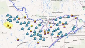 A map of Hydro One power outages as of Tuesday at 3 p.m. The storm knocked down trees and power lines over a wide region stretching from Barry's Bay to Cornwall.