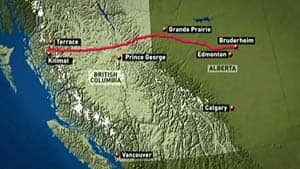 The pipeline would cross more than 500 kilometres of B.C.