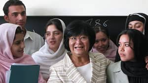 Bev Oda poses at a school in Afghanistan in 2008.