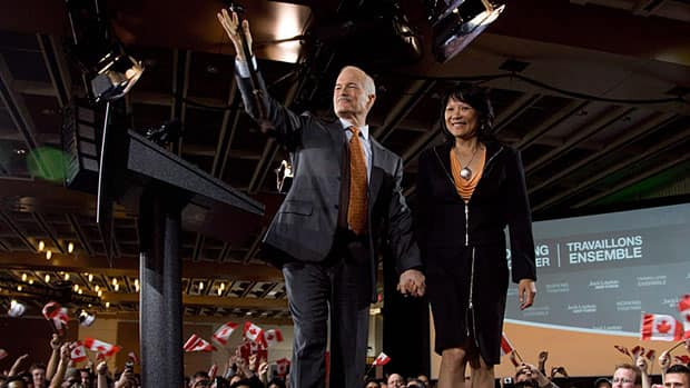 Jack Layton and Olivia Chow leave the stage at a celebration event on May 2, 2011, when the NDP won Official Opposition status in the federal election. Layton died a few months later and now a movie is being made about his life.