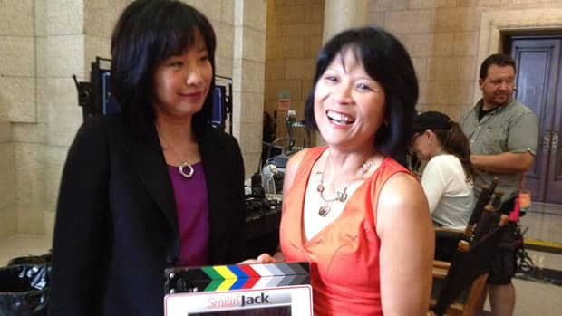Sook-Yin Lee and Olivia Chow on the set of Smilin' Jack, Sunday.