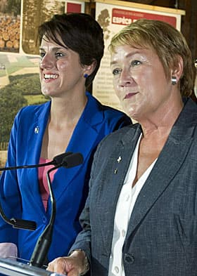 Local PQ candidate Djemila Benhabib stands next to PQ leader Pauline Marois in Trois-Rivieres on Tuesday.