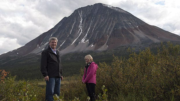 Prime Minister Stephen Harper and his wife Laureen visited Moose Pond, Northwest Territories on Tuesday, where a new national park is being created. Harper announced the boundaries of the Naats'ihch'oh National Park Reserve on Wednesday during his tour of the North.