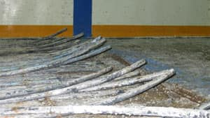 The damaged refrigeration pipes under the Rankin Inlet arena's sand floor needed to be replaced.