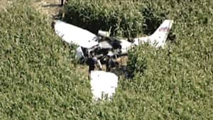 The single-engine plane went down in a corn field near Moorefield, about 50 kilometres northwest of Kitchener.