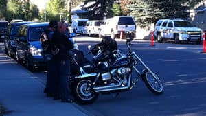 Members of the Kelowna Hells Angels watched while police raided their clubhouse last week.