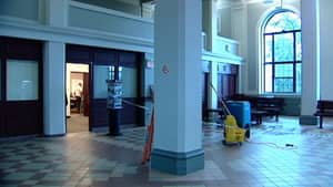 Someone knocked the head off one of the sprinklers at the Via Rail station in Halifax, causing water damage.