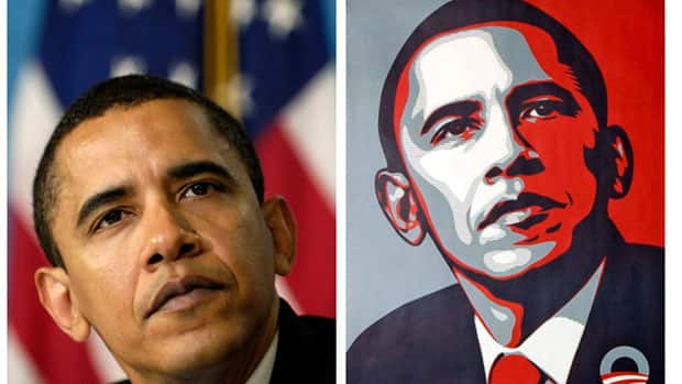 The original Associated Press photograph is seen next to a poster of U.S. President Barack Obama by artist Shepard Fairey, who has admitted he doctored the photo for his work.