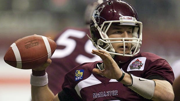 McMaster University Marauders' Kyle Quinlan prepares to throw the ball during the second half of play against the Laval University Rouge et Or's at the Vanier Cup Canadian university football championship in Vancouver, B.C., on Friday November 25, 2011.