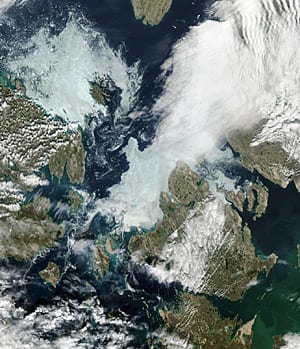 Ice remains in Victoria Strait, to the north and west of King William Island, on Aug. 10.