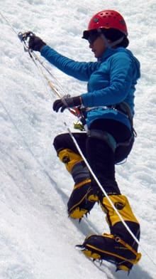 Shriya Shah-Klorfine climbs an icewall during training.