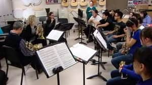 The NACO's brass trio performed a concert at Inuksuk High School in Iqaluit in January.