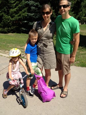 Montreal resident Jenni Glad-Timmons, third from left, and her family have spent much of the last year trying to reduce their worldly possessions to 100 things each.