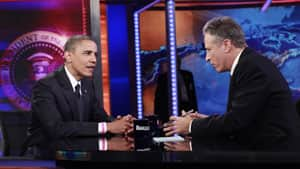 U.S. President Barack Obama  participates in a taping of the Daily Show with Jon Stewart at the Comedy Central Studios in New York. Stewart pressed Obama on the president's response to the recent attack on the embassy in Libya.