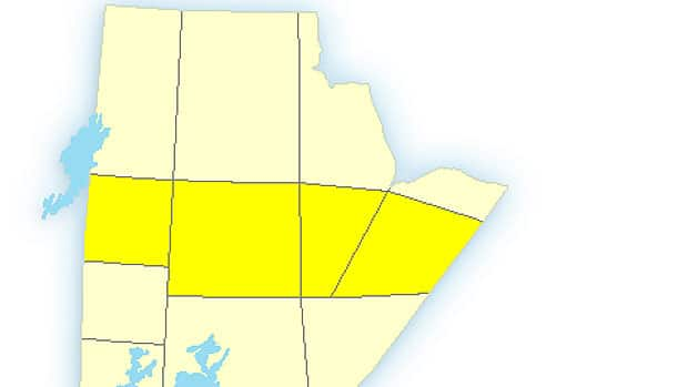 The yellow areas mark those under a winter storm watch in northern Manitoba.