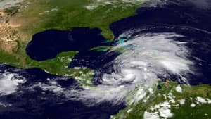 Tropical Storm Sandy is seen churning in the western Caribbean Sea on Tuesday.