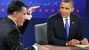 How full is democracy's glass? Mitt Romney and Barack Obama debate the world in Boca Raton, Fla., on Monday, Oct. 22.