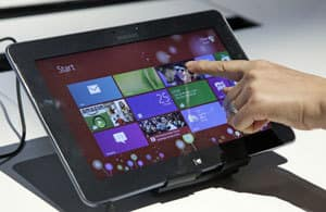 A Samsung tablet computer running Windows 8 was one of the devices shown at the launch of Microsoft Windows 8 in New York.