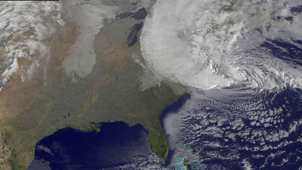 Hurricane Sandy is seen moving towards the east coast of the United States in this satellite image taken at 3:15 a.m ET on Monday.
