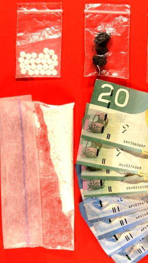 RCMP officals took pills, hash, cocaine and cash.
