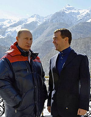 Russian President Vladimir Putin, left, and Prime Minister Dmitry Mevedev meet at the mountain resort of Krasnaya Polyana, near Sochi in southern Russia in March 2012.