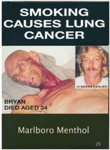 Cigarette warning labels in Australia can't show tobacco company colours.