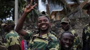 M23 rebels celebrate in the streets of Goma after rebel group seized the strategic provincial capital in Congo.