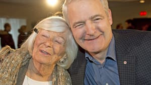 Liberal MP Marc Garneau hugs his mother Jean after announcing his candidacy for the Liberal party leadership Wednesday, November 28, 2012 in Montreal.