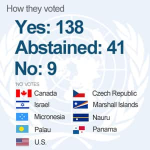 Only nine countries voted against the Palestinian Authority's bid to have its status in the UN upgraded to state recognition.