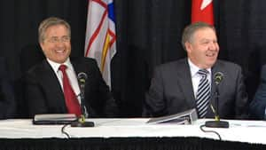 Nova Scotia Premier Darrell Dexter, right, appeared in St. John's with then Newfoundland and Labrador premier Danny Williams to announce a tentative agreement on Muskrat Falls.